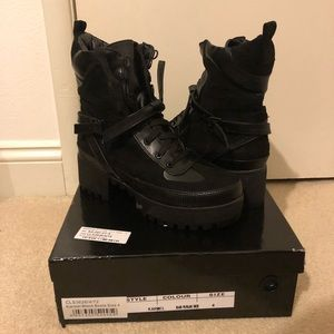 Black Biker Platform Boots Pretty Little Thing